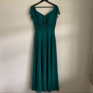 Morilee Forest Green Off the Shoulder Formal Dress